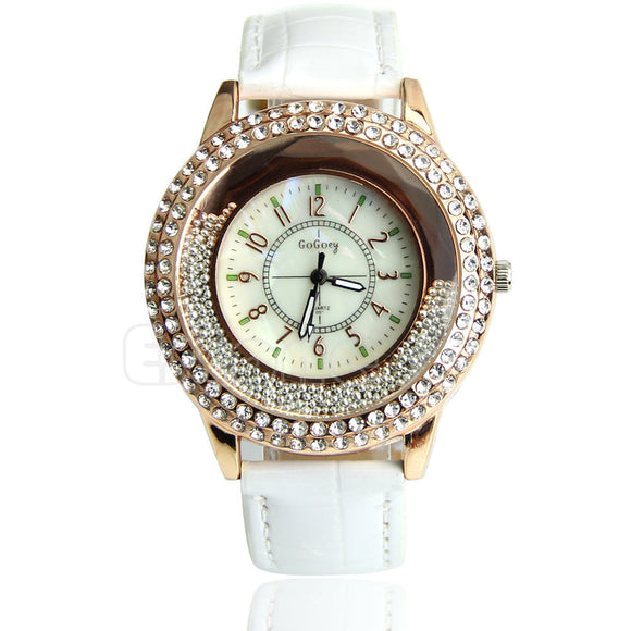 Women's Designer Crystal Venetian Quartz Watch - White -  - 1
