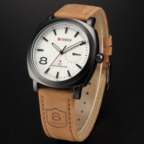 Men's OUTDOORSMAN Survival Leather Strap Quartz Watch - White Face -  - 1