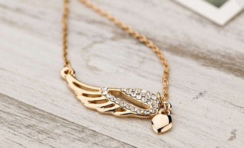 Women's Golden Bird Lovers WING Crystals Pendant Necklace - Thirsty Buyer - 1