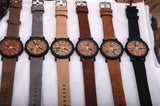 Men's Wooden Grain Face Quartz Watch w/ Leather Strap - Black - Thirsty Buyer - 2
