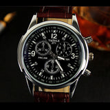 Men's Stainless Steel Leather Band Quartz SUIT Watch -  - 2