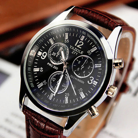 Men's Stainless Steel Leather Band Quartz SUIT Watch -  - 1