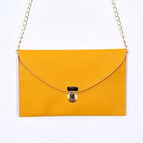Ladies ENVELOPE Purse Handbag w/ Gold Clutch Chain - Assorted Colors - Thirsty Buyer - 2