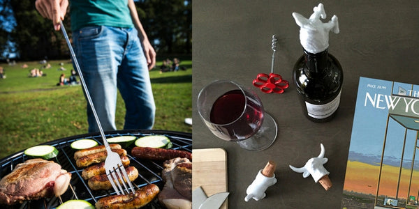 Father's Day Gifts, unique gifts, Zeitgeist Gifts, gifts for dad, gifts for him, Father's Day best gifts, non boring gifts for him, awesome dad gifts, modern dad gifts, bbq gifts, bbq accessories, extendable fork, grilling tools, bbq plates, wine stoppers, gifts for chef