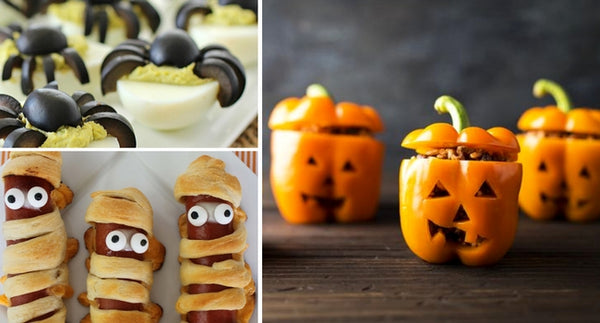 Halloween recipes, halloween party, scary treats, jack o lantern peppers, hot dog mummies, spider deviled eggs