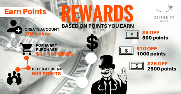 Loyalty Program, Rewards Program, Earn Rewards, Zeitgeist Gifts