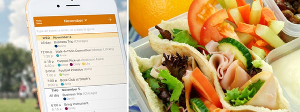 Healthy school lunches, school lunch, tips, family calendar, get organized, kids activities