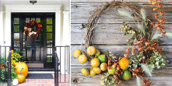 decorate fall, entry, autumn, decor ideas door, mums, pumpkins