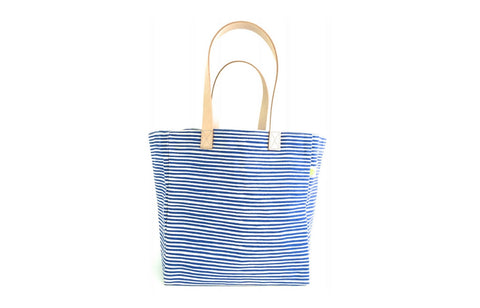 Modern Summer Cube Tote Bag - Strings Navy