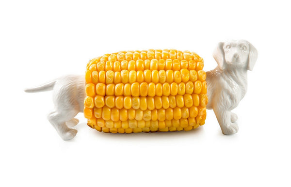 "Sweet ""Hermine the Dachshund"" Porcelain Corn Holder"