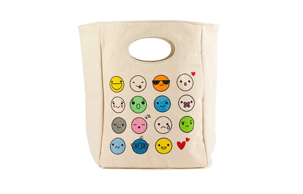 Unique Organic Lunch Bag - EMOJI - Zeitgeist Gifts