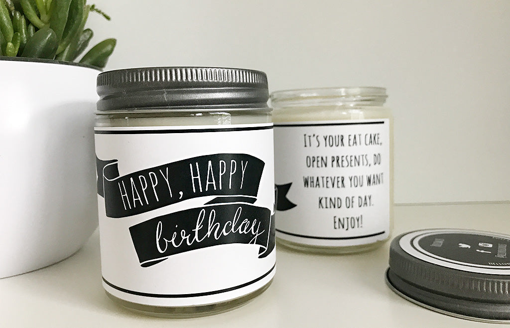 Handmade Happy Birthday Scented Soy Candle