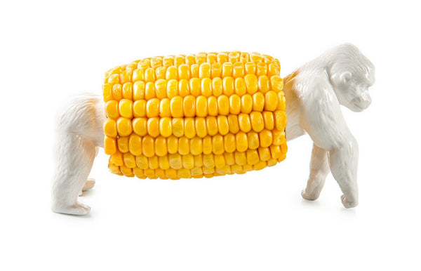 "Funny ""King Corn"" Porcelain Corn Holder"