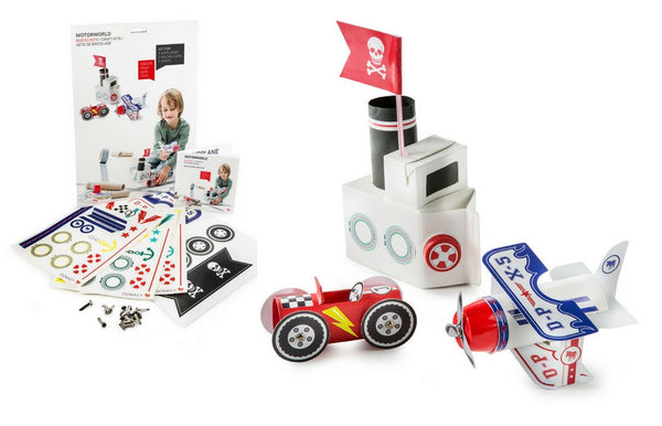 """Motor World"" Transportation Pack & Play Toy Craft Set - Zeitgeist Gifts"