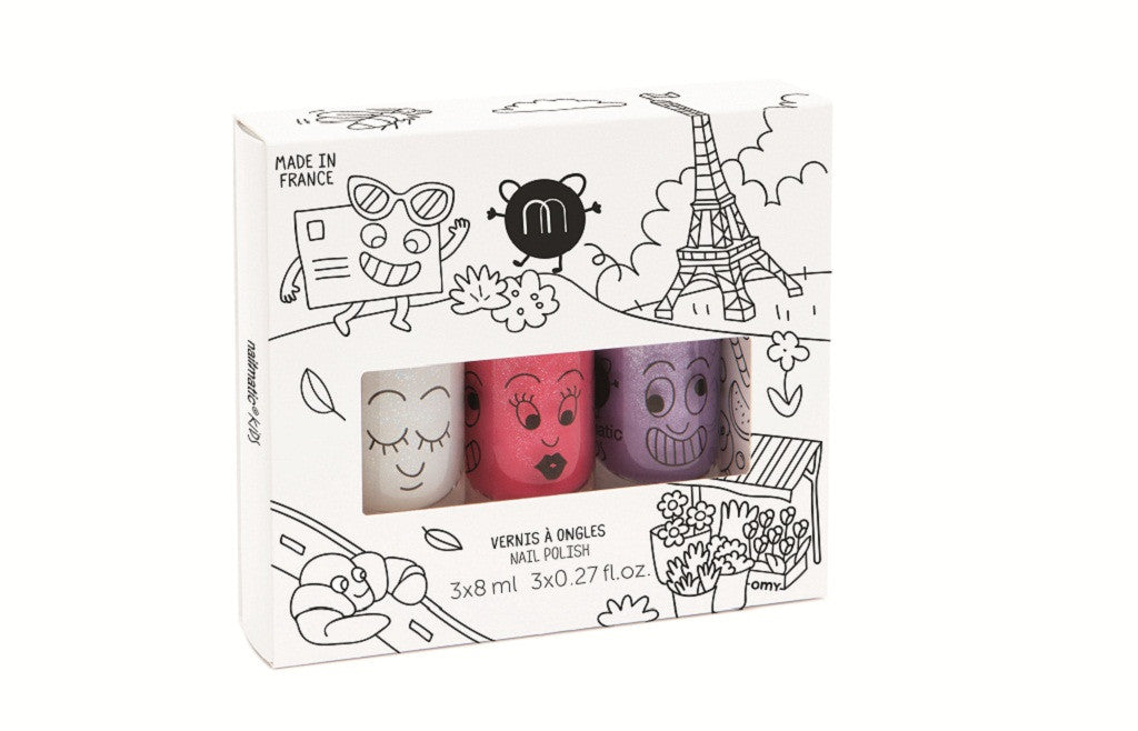 Safe Water-Based Kids Nail Polish Set of 3 - City