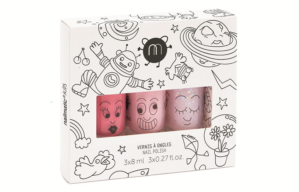 Safe Water-Based Kids Nail Polish Set of 3 - Cosmos