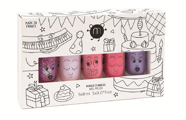 Safe Water-Based Kids Nail Polish Set of 5 - Party