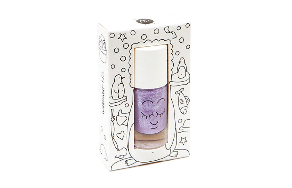 Safe Water-Based Kids Nail Polish - PIGLOU Purple Glitter