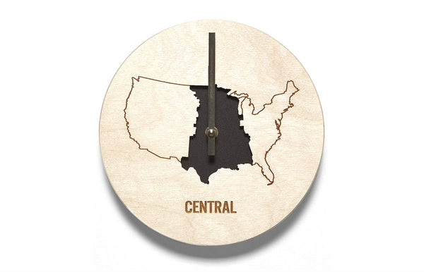 Central Time Zone Wooden Wall Clock - Zeitgeist Gifts