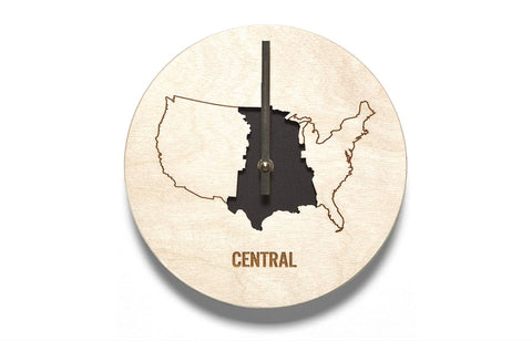 Central Time Zone Wooden Wall Clock