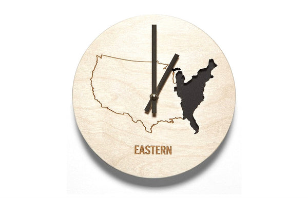 Eastern Time Zone Wooden Wall Clock