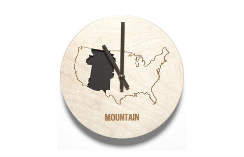 Mountain Time Zone Wooden Wall Clock