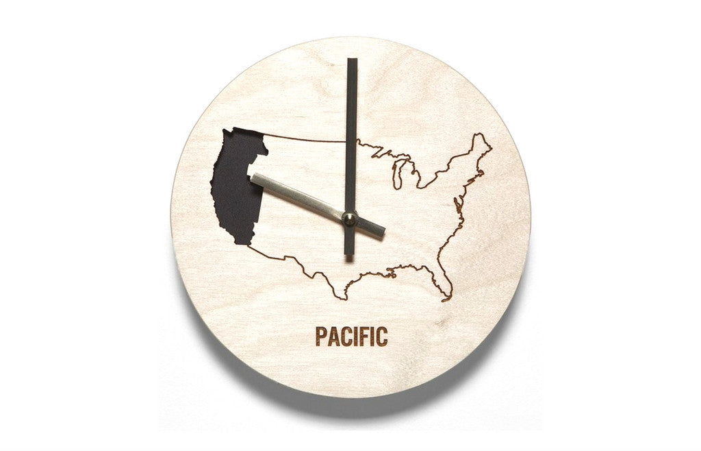 Pacific Time Zone Wooden Wall Clock - Zeitgeist Gifts