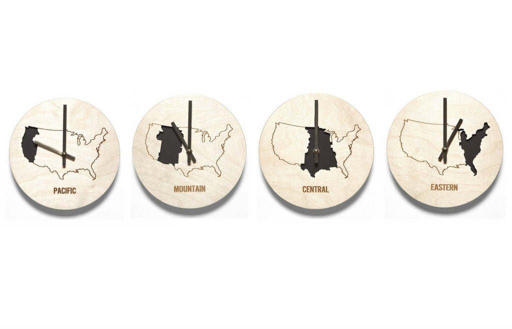 Time Zone Wooden Wall Clocks - Set of Four - Zeitgeist Gifts