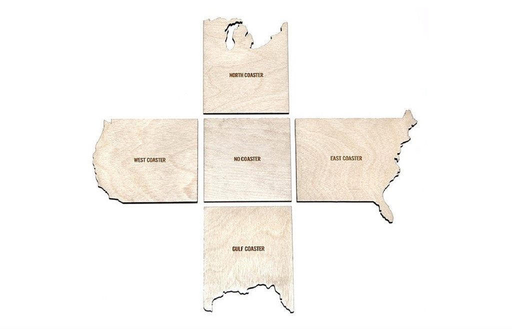 Set of 5 Wooden Coasters USA - West, North, East, Gulf Coast & No Coast - Zeitgeist Gifts