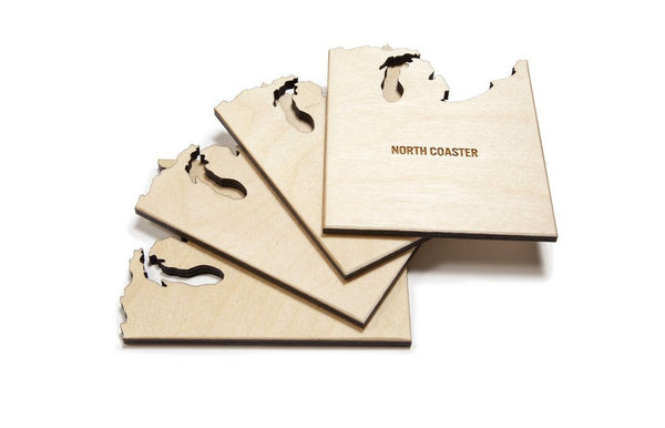 North Coasters - Set of 4 Wooden Coasters North Coast USA - Zeitgeist Gifts