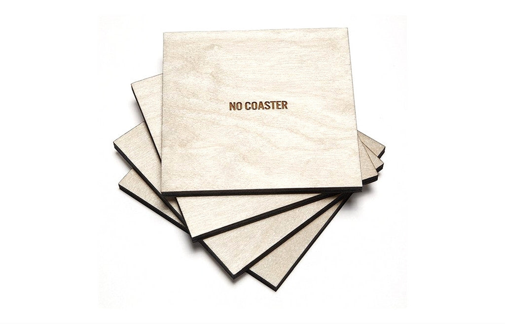 No Coasters - Set of 4 Wooden Coasters - Zeitgeist Gifts