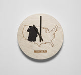 Mountain Time Zone Wooden Wall Clock - Zeitgeist Gifts