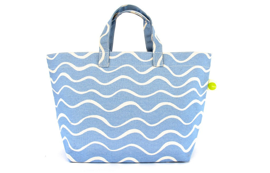 Modern Large Square Summer Tote Bag - Wave Turquoise