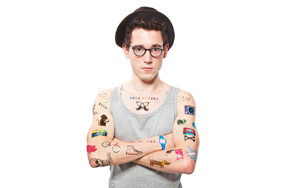 Fun Hipster Washable Temporary Tattoos – Zeitgeist Gifts