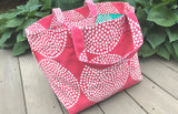 Modern Large Square Summer Tote Bag - Big Wheels Salmon