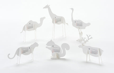 Zoo Animals - Unique 3D Paper Art Calendar 2018