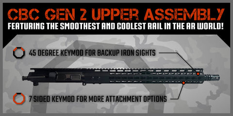 "AR-15 Upper Assembly - 16"" / 5.56 x 45 / 15"" CBC Arms Keymod GEN 2 AR-15 Handguard / Rail - CBC INDUSTRIES"