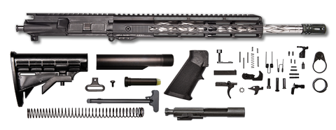 "AR-15 Rifle Kit - 16"" SS Wylde Diamond Upper Assembly / 1:9 / A2 BLK Flash / 12"" Hera Keymod / Bolt Carrier Group / Charging Handle / AR-15 Buttstock Kit / AR-15 Lower Parts Kit"