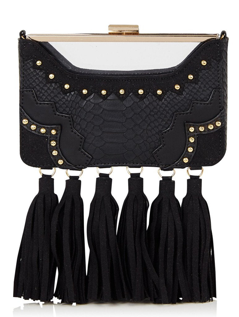Black Tassel Rita Clutch Bag