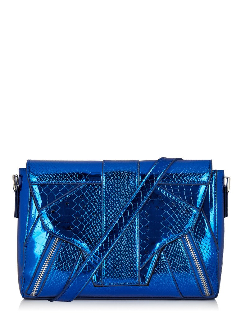 Blue Croc Lemur Cross Body Bag