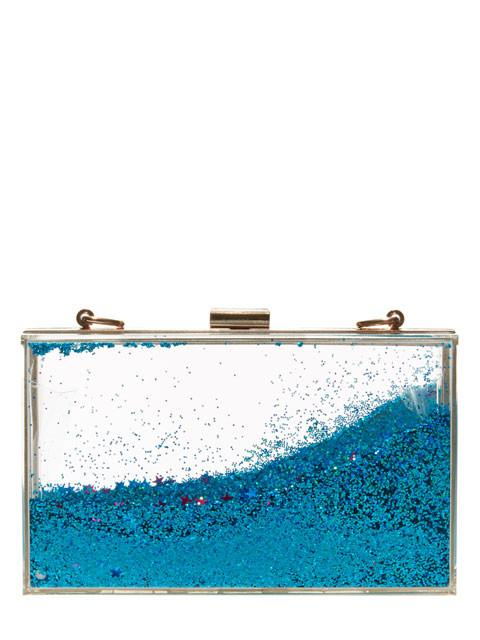 Blue Glitter Clutch Bag