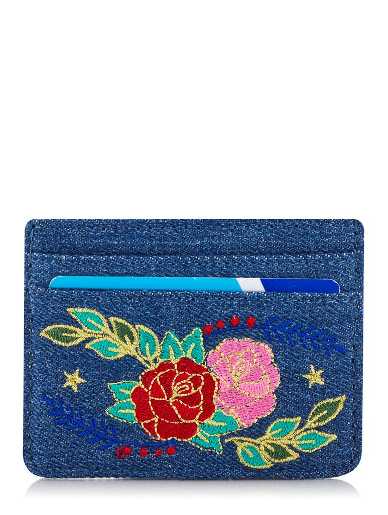 Denim Floral Card Holder