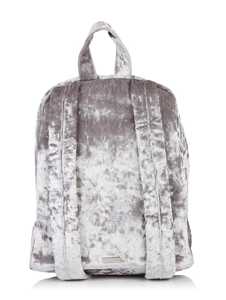 Grey Crushed Velvet Backpack