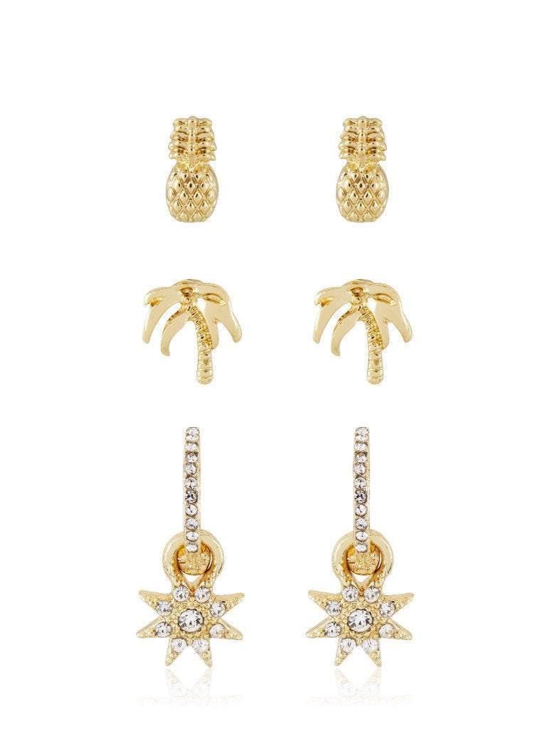 Gold Pineapple Stud Earring Pack