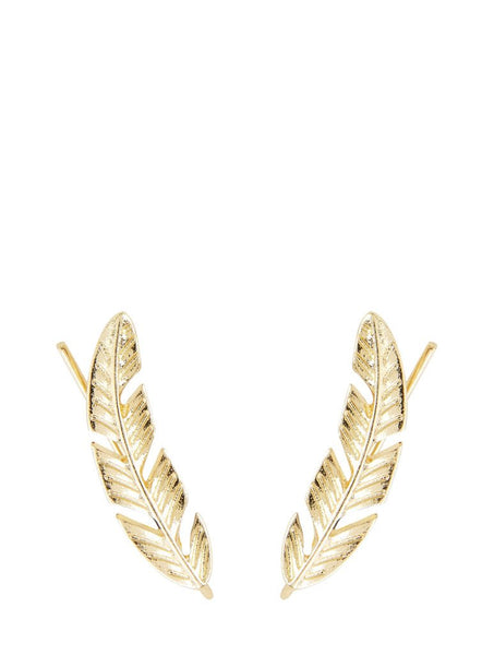 Gold Artemisia Leaf Climber Earrings