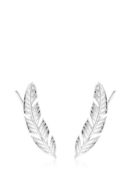 Silver Artemisia Leaf Climber Earrings