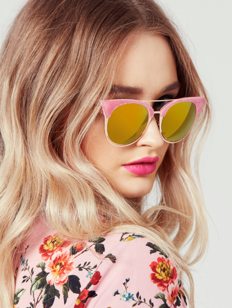 Ava Pink Flock Aviator Kitten Sunglasses