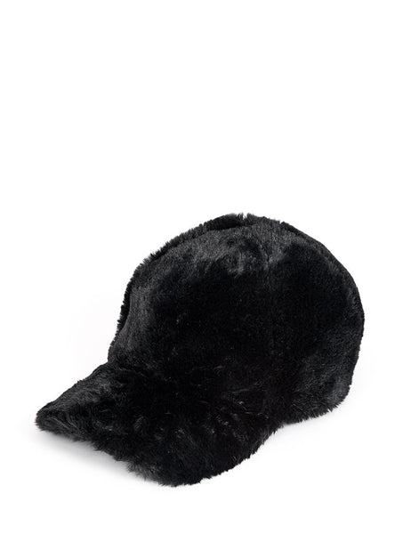 Black Faux Fur Cap