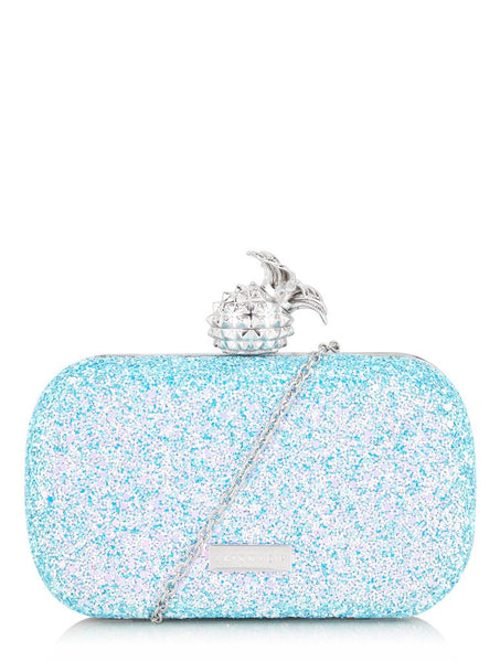 Blue Pineapple Clasp Clutch