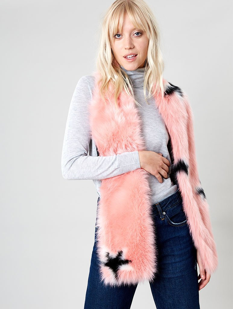 Blush Star Faux Fur Scarf